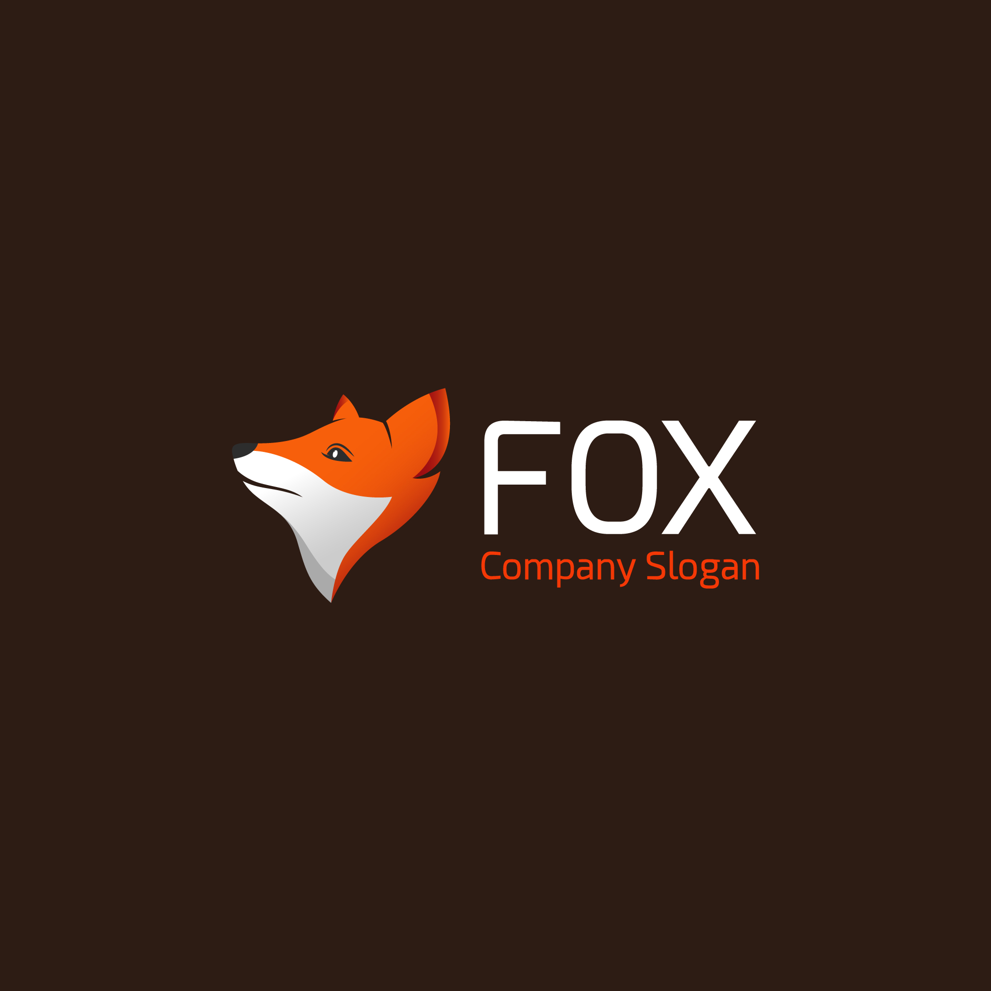 Fox logo on brown background
