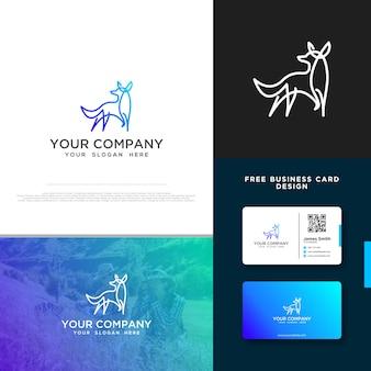 Fox logo с бесплатным дизайном визитной карточки