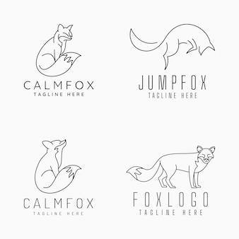 Fox logos with line art concept
