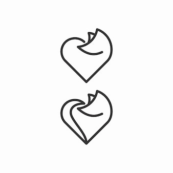 Fox and love outline logo