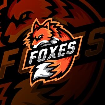 Лиса талисман логотип киберспорт игры иллюстрация