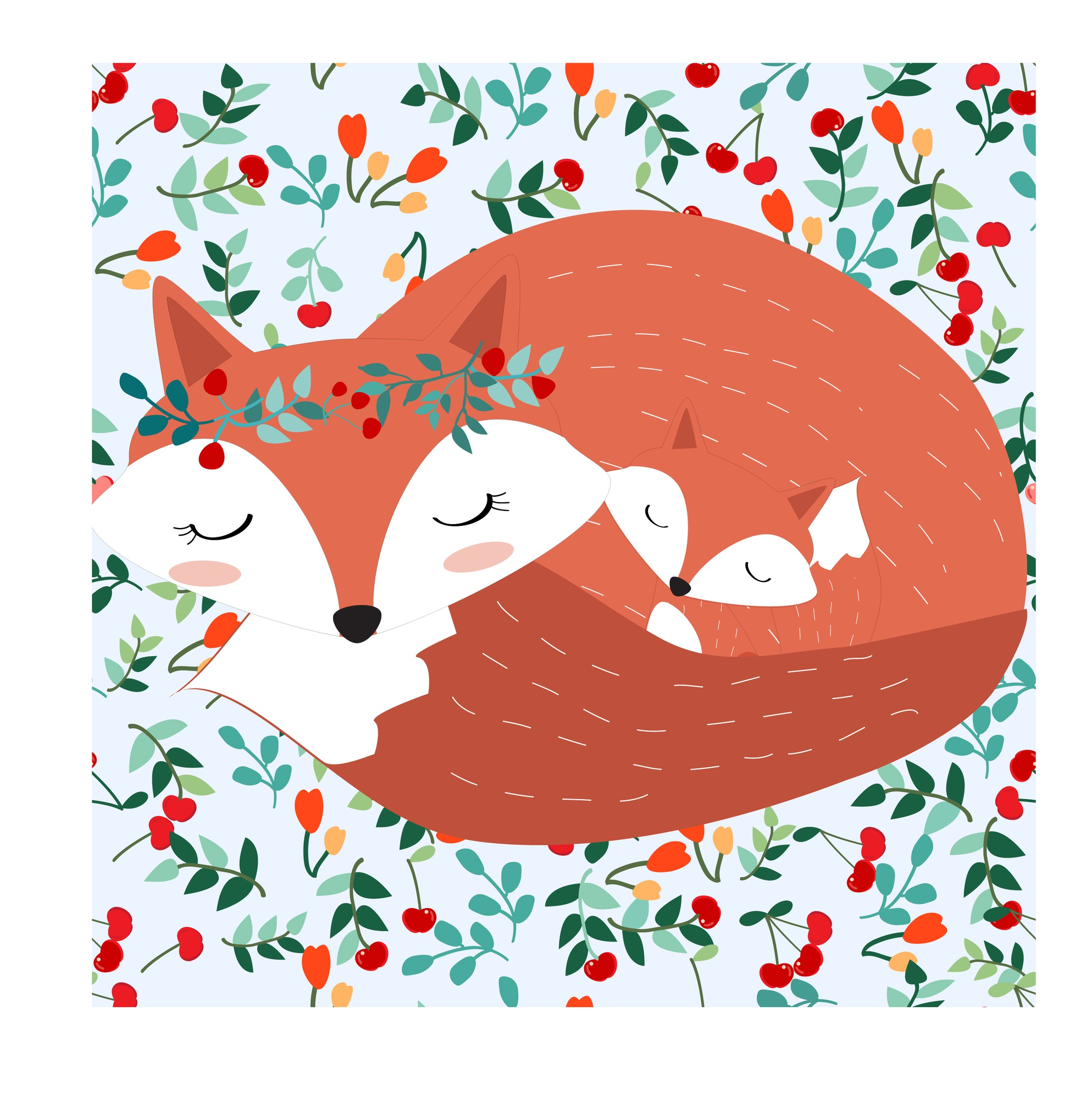 Fox mom and baby in pretty cherry berry forest