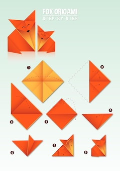 Fox origami instruction step by step