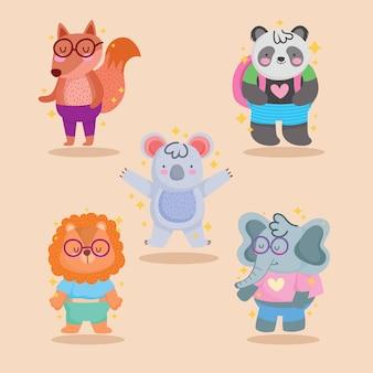 Лиса, панда, коала, лев и слон, мультяшный дизайн, зоопарк и тема жизни