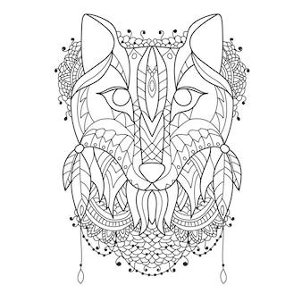 Рисунок лисы в стиле зентангл - векторный эскиз для тату - раскраска