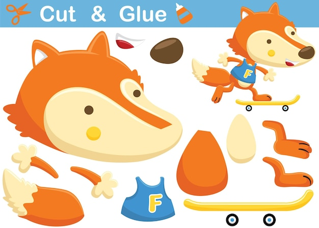 Fox playing skateboard. education paper game for children. cutout and gluing.   cartoon illustration