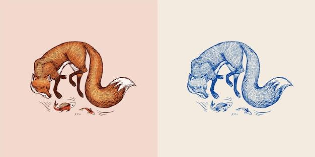 キツネは、ラベルまたはラベルのための魚の森の生姜獣ベクトル刻まれた手描きのビンテージスケッチで遊ぶ