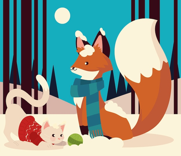 Fox and rabbit with scarf sweater and ball in the winter scene vector illustration