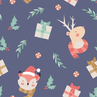 Fox and reindeer christmas seamless pattern