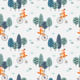 Fox ride a vintage bicycle in the forest