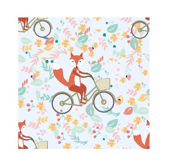 Фокс едет на велосипеде в цветочном фоне