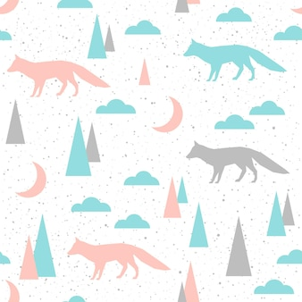 Fox seamless background. grey, blue and pink fox. abstract seamless pattern for card, book, banner, diary cover, t-shirt, album, textile fabric, garment etc. naure and animal theme.