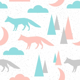 Fox seamless pattern background. grey, blue and pink abstract fox for card, invitation, album, scrapbook, holiday wrapping paper, textile fabric, garment etc. forest animal theme.