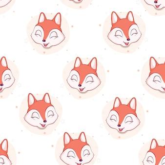 Fox seamless pattern. vector illustration