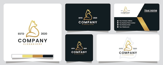 Фокс сидит, золотой, роскошь, дизайн логотипа и визитная карточка