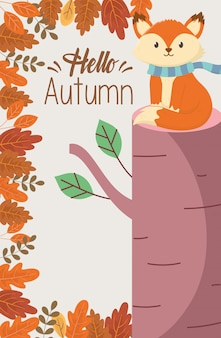 Fox sitting trunk leaves hello autumn poster