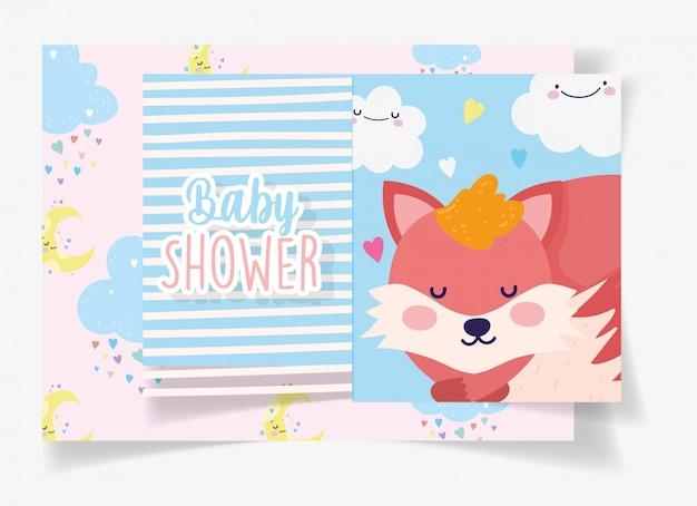여우 수면 구름 줄무늬 배경 베이비 샤워 카드