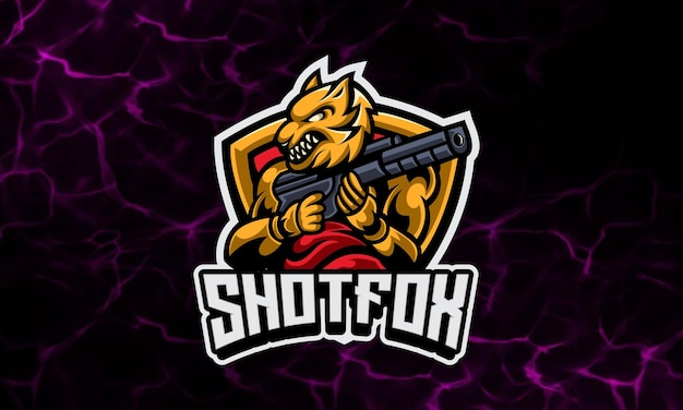Fox soldier gaming mascot and sport logo template