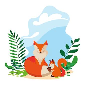 Fox and squirrel happy autumn season