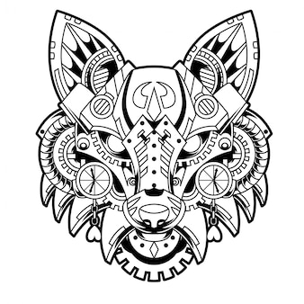 Fox steampunk black and white illustration