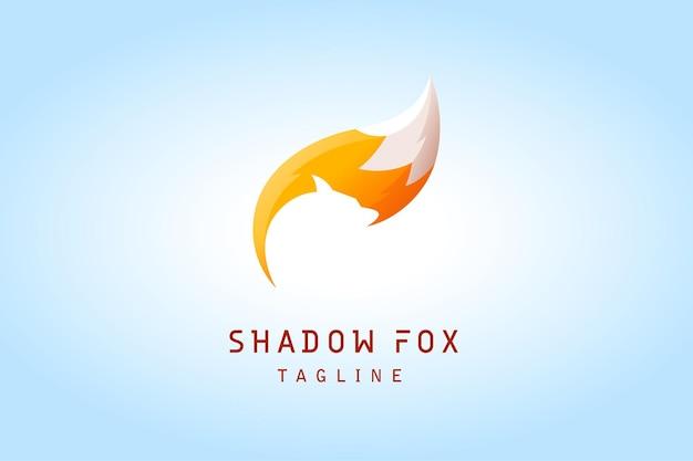 Fox tail with negative fox head shadow gradient logo for company