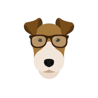 眼鏡をかけたフォックステリア犬