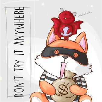 Fox thief несет сумку с деньгами и летучей мышью, нарисованное от руки животное