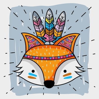 Fox tribal animal with feathers decoration vector illustration