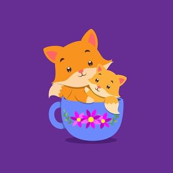 Лиса с детенышем лисы сидит на чашке чая с цветочным узором