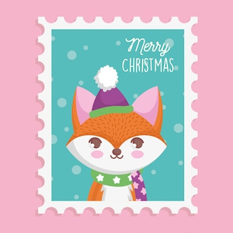 Fox with hat and scarf christmas stamp