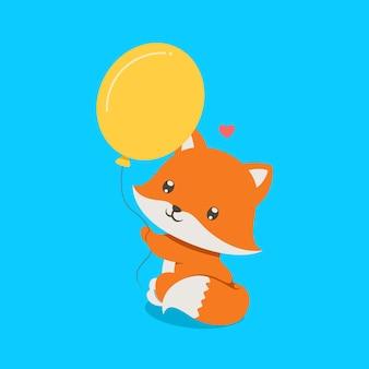 Лиса с маленьким носиком сидит и держит желтые воздушные шары