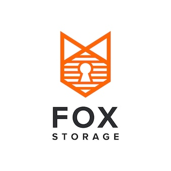 Fox with storage and keyhole simple sleek creative geometric modern logo design