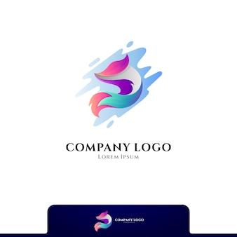 물 스플래시 로고 디자인이 있는 폭스