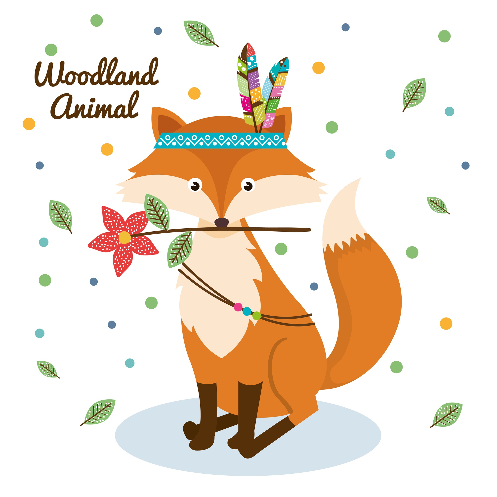 Fox woodland animal with feather crown
