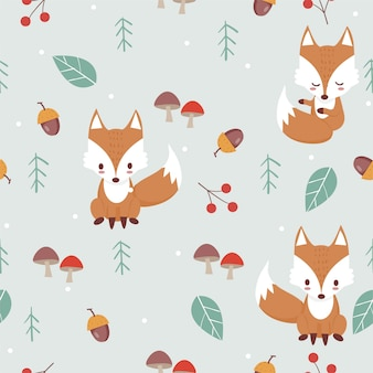 Fox in woodland pattern