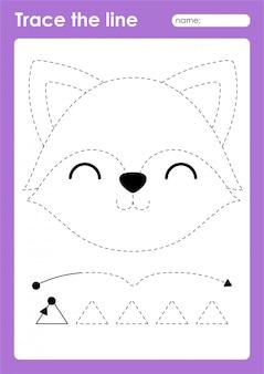 Fox - детский лист трассировки линий для детей для отработки мелкой моторики