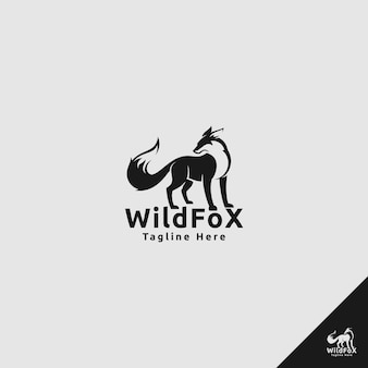 Логотип fox в стиле силуэта использует концепцию охотника на диких животных
