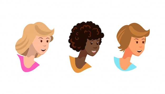 Векторные иллюстрации набор fox молодые девушки улыбаются.