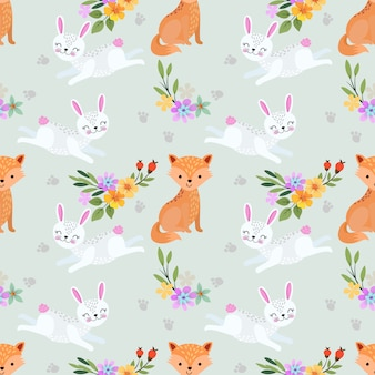 Foxes and rabbits seamless pattern.