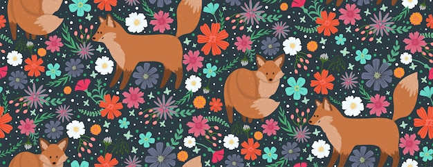 Foxes surrounded by beautiful flowers. elegant vector seamless pattern