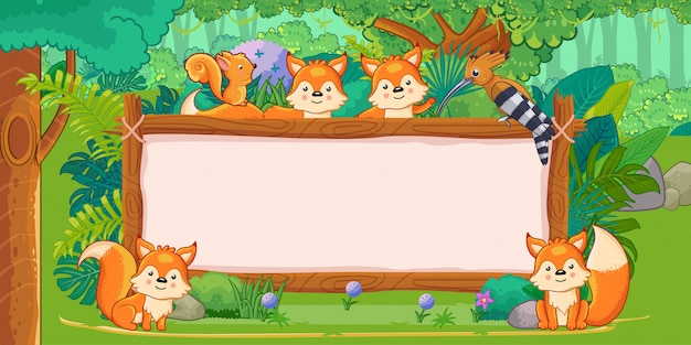 Foxes with a blank sign wood in the jungle