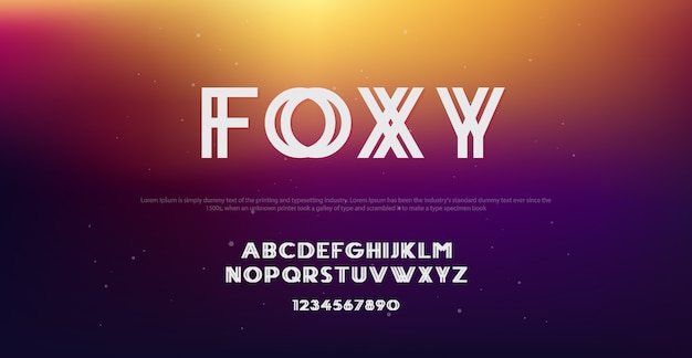 Абстрактная технология foxy шрифт и алфавит