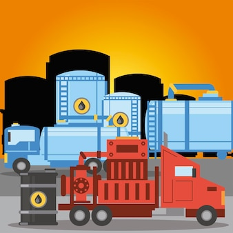 파쇄 트럭 수송 탱크 파이프 라인 및 오일 배럴 그림