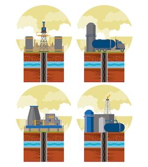 Фракционная зона и эмблемы нефтяной промышленности