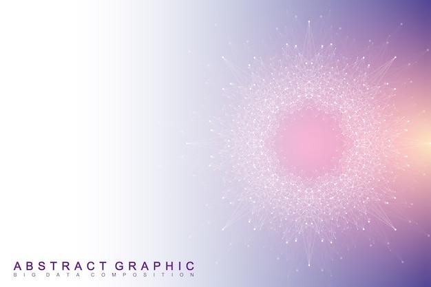 複合線と点を持つフラクタル要素。ビッグデータコンプレックス。