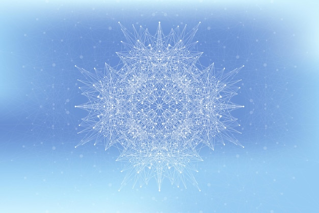 연결된 선과 점이 있는 프랙탈 요소입니다. 빅 데이터 콤플렉스. 입자 화합물. 네트워크 연결, 신경총. 최소한의 혼란스러운 디자인, 벡터 일러스트 레이 션입니다.