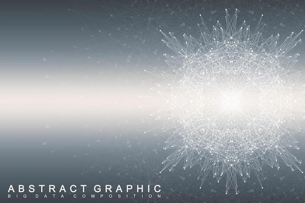 線と点が接続されたフラクタル要素。ビッグデータコンプレックス。仮想バックグラウンド通信または粒子化合物。デジタルデータの視覚化、最小限の配列。線神経叢。ベクトルイラスト。