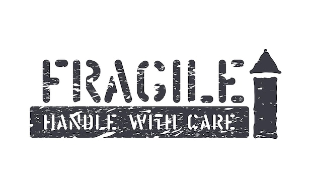 Fragile, arrow up, handle with care isolated grunge rubber box sign for cargo, delivery and logistics