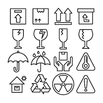 Fragile delivery sign line icons