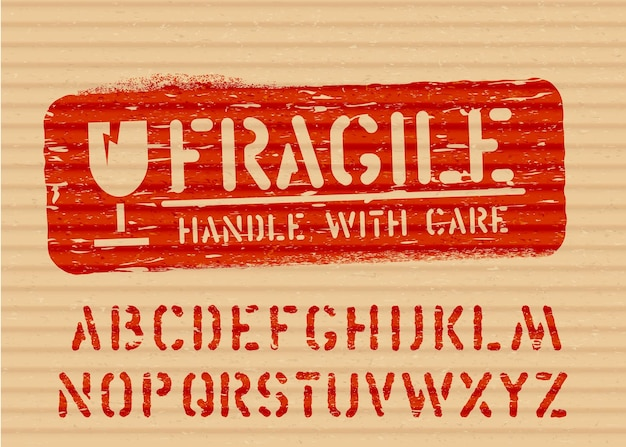 Fragile grunge vector box sign glass icon and alphabet